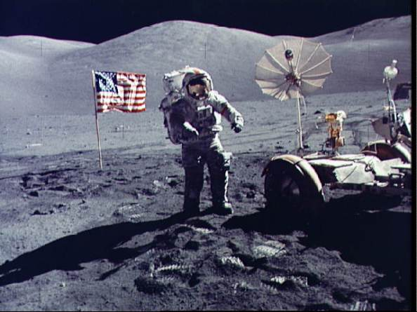 Gene Cernan on the Moon during the final EVA of the Apollo 17 mission, Dec. 13, 1972  Read more: http://www.universetoday.com/112048/watch-the-trailer-for-the-last-man-on-the-moon/#ixzz32MUjiCSM
