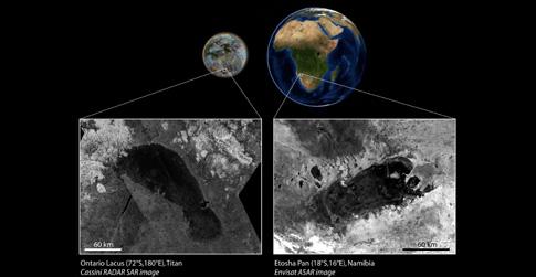 Σύγκριση της λίμνης Ontario Lacus του Τιτάνα με την εφήμερη λίμνη Ετόσα Παν της Ναμίμπια σε εικόνες ραντάρ (Πηγή: NASA / ESA / LPGNantes)