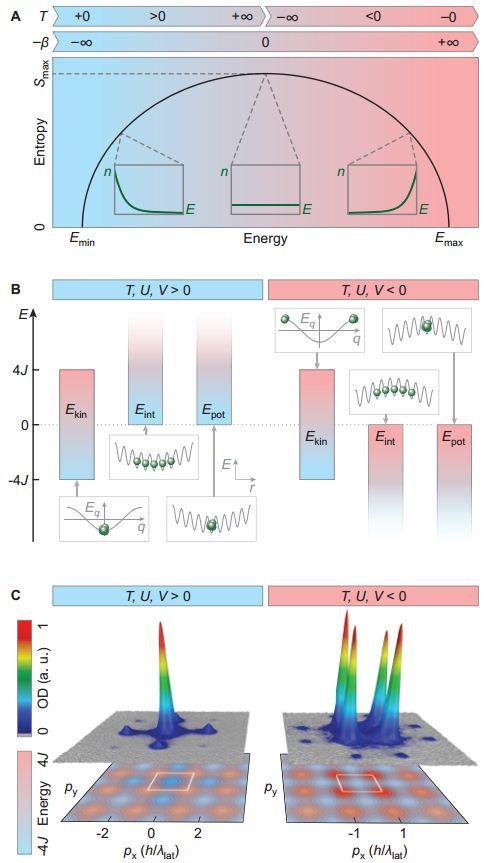 (Α) Διάγραμμα της εντροπίας ως συνάρτηση της ενέργειας σε μια κανονική συλλογή. Τίθεται άνω (Εmin) και κάτω όριο (Εmax) στην ενέργεια. (Β) Ενεργειακά όρια για τους τρεις όρους της δισδιάστατης Χαμιλτονιανής Bose-Hubbard: κινητική ενέργεια (Εkin), ενέργεια αλληλεπίδρασης (Eint) και δυναμική ενέργεια (Εpot) (C) Οι κατανομές ορμής που μετρήθηκαν για θετικές (αριστερά) και αρνητικές (δεξιά) θερμοκρασίες.