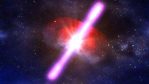 O εκλάμψεις ακτίνων γάμμα ανακαλύφθηκαν στη δεκαετία του 1960 από δορυφόρους που χρησίμευαν στην ανίχνευση εκρήξεων πυρηνικών βομβών στη ΓηΠρόκειται για εκατοντάδες φορές πιο φωτεινό φαινόμενο από σουπερνόβα και περίπου ένα εκατομμύριο τρισεκατομμύρια φορές λαμπρότερο από τον Ήλιο Μερικές εκρήξεις ακτίνων γάμμα έχουν ταξιδέψει πάνω από 13 δισεκατομμύρια έτη φωτός, που σημαίνει ότι προέρχονται από  από τα πιο μακρινά αντικείμενα που έχουν εντοπιστεί