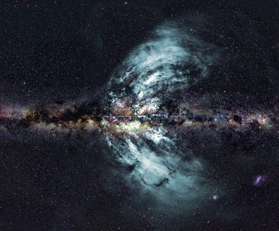 Combined optical and radio image of two huge eruptions of material flowing out of the Milky Way galaxy. And you very much want to click it to embiggen.