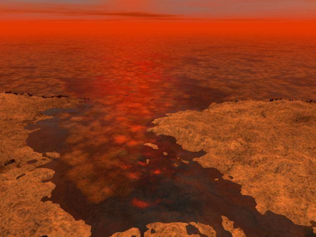 Kαλλιτεχνική απεικόνιση παγόβουνων από υδρογονάνθρακες στην επιφάνεια του δορυφόρου του Κρόνου, Τιτάνα