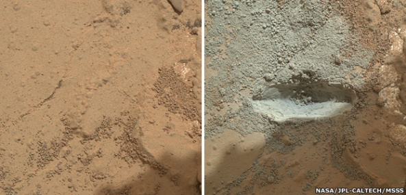 Πριν και μετά: To Curiosity χρησιμοπoίησε το τρυπάνι του για πρώτη φορά