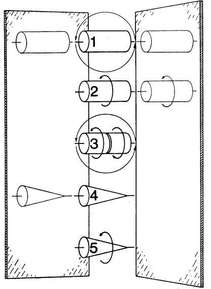 Οι πέντε μορφές αξονικής συμμετρίας: επιπρόσθετες συμμετρίες. 1. Ένας απλός κύλινδρος: Γυρίστε τον μπρος – πίσω, καθρεφτίστε τον σε παράλληλο ή κάθετο καθρέφτη 2. 'Ενας περιστρεφόμενος κύλινδρος: Καθρεφτίστε τον σε κάθετο καθρέφτη και μόνο 3. Ένας διπλός περιστρεφόμενος κύλινδρος: Γυρίστε τον μπρος – πίσω και μόνο 4. Ένα βέλος: Καθρεφτίστε το σε παράλληλο καθρέφτη και μόνο 5. 'Ένα περιστρεφόμενο βέλος: Χωρίς επιπλέον συμμετρίες.