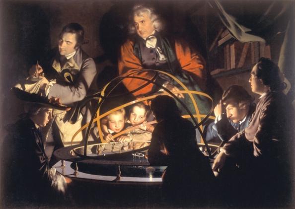 Πίνακας του Joseph Wright (1766) που δείχνει έναν φιλόσοφο να δίνει διάλεξη πάνω από το μηχανικό πλανητάριο