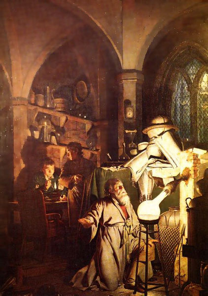 Αλχημιστής σε αναζήτηση της Φιλοσοφικής Λίθου. Ζωγραφικός πίνακας του Joseph Wright (1771)
