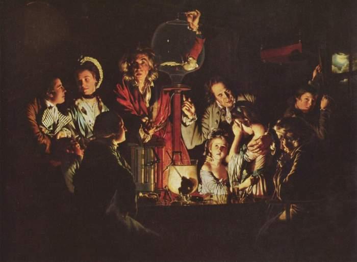 Ένα πείραμα με πουλί μέσα σε μια αντλία αέρα(Joseph Wright, 1768)