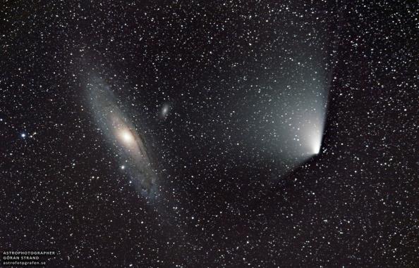 Φωτογραφία του Göran Strand, στις4 Απριλίου, 2013, 70 χιλιόμετρα βόρεια του Östersund, στη Σουηδία.  Read more: http://www.universetoday.com/101257/comet-panstarrs-meets-the-andromeda-galaxy-more-amazing-images/#ixzz2PbaGPVHf