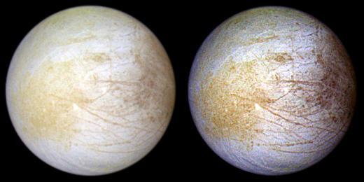 Αριστερά η Ευρώπη σε εικόνα πραγματικού χρώματος από την αποστολή Galileo. Η εικόνα δεξιά έχει υποστεί επεξεργασία για να αναδειχθούν τα επιφανειακά χαρακτηριστικά. Οι γραμμές αντιστοιχούν σε ρωγμές στον πάγο.