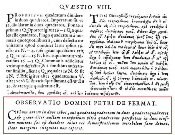 Η περίφημη σημείωση του Pierre de Fermat βρίσκεται στην έκδοση των Αριθμητικών του Διοφάντου από τον γιο του Fermat, τον Samuel. Ο Fermat είχε διαβάσει τα Αριθμητικά στην πρώτη σύγχρονη έκδοσή τους – όπως δημοσιεύθηκαν το 1621 από τον Claude-Gaspar Bachet - , όμως το αντίτυπο με τις παρατηρήσεις του δεν έχει ανακαλυφθεί ακόμη. Ο Samuel Fermat, στην έκδοσή του έχει αντιγράψει τη σημείωση και την παραθέτει κάτω από το λατινικό και το ελληνικό κείμενο του Προβλήματος 8 του βιβλίου 2.