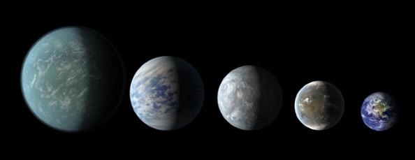 Τα μεγέθη των πλανητών που βρίσκονται στην κατοικίσημεη ζώνη του συστήματος Kepler 62, που ανακαλύφθηκαν στις 18 Απρίλη του 2013. Από αριστερά προς τα δεξιά: Kepler-22b, ο Kepler-69c, Kepler-62e, Kepler-62f, και j Γης (Καλλιτεχνική αναπαράσταση - εκτός από τη Γη)