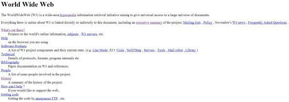 Η πρώτη ιστοσελίδα: http://info.cern.ch/hypertext/WWW/TheProject.html