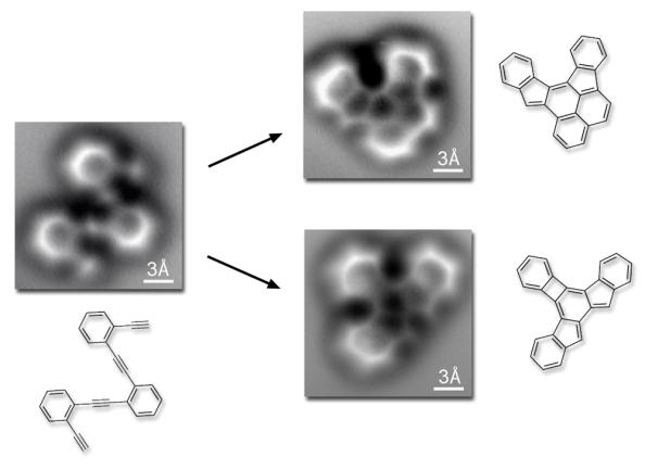 Απεικόνιση των μορίων πριν και μετά την αντίδραση που πραγματοποιείται όταν η θερμοκρασία υπερβαίνει τους 90 βαθμούς Κελσίου. Φαίνονται τα δύο πιο κοινά τελικά προϊόντα της αντίδρασης.