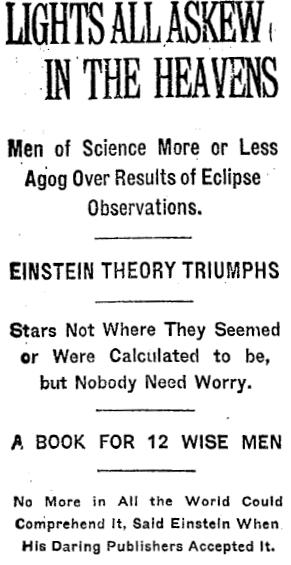 Οι παρατηρήσεις του Eddington επιβεβαίωσαν τη θεωρία του Einstein, γεγονός που έκανε μεγάλη εντύπωση και αναφέρθηκε από εφημερίδες σε όλο τον κόσμο ως μεγάλη είδηση. Στην εικόνα βλέπουμε το σχετικό δημοσίευμα των New York Times στις 10 Νοεμβρίου του 1919.
