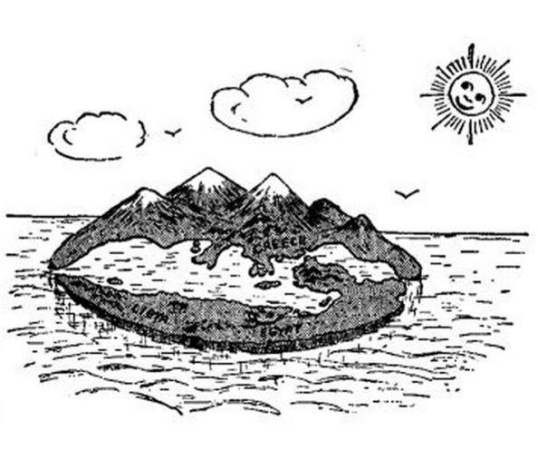 Επίπεδη Γη [σκίτσο του George Gamow από το βιβλίο του One, two, three ... infinity]]