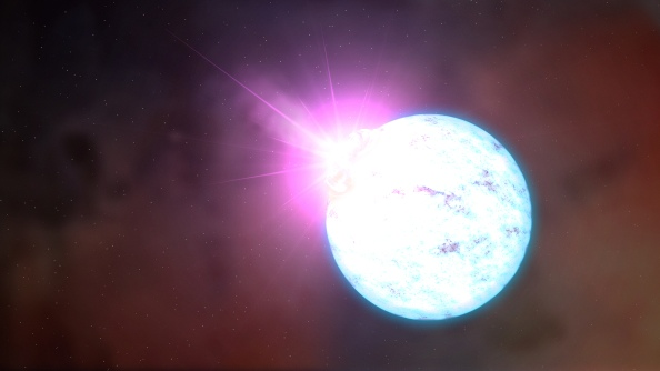 Καλλιτεχνική απεικόνιση  μαγνητικού άστρου νετρονίων (magnetars), Τα magnetars αποτελoούν τους ισχυρότερους μαγνήτες του σύμπαντος, καθώς παράγουν ασύλληπτα ισχυρά μαγνητικά πεδία και κατά διαστήματα εκτοξεύουν στο διάστημα παλμούς υψηλής ενέργειας .Credit: NASA's Goddard Space Flight Center