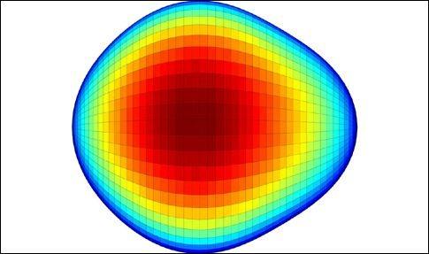 Γραφική αναπαράσταση του πυρήνα του ράδιου-224. Οι ερευνητές τον παρομοιάζουν με αχλάδι (Πηγή: Liam Gaffney / Peter Butler, University of Liverpool)