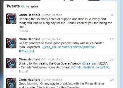 Στις 4 Ιουλίου του 2013 ο Hadfield θα αποχαιρετήσει και οριστικά το CSA για να αναλάβει καινούριες προκλήσεις, όπως είπε χαρακτηριστικά ο ίδιος.
