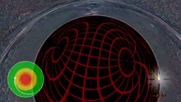 """Εικόνα από την σειρά βίντεο """"Ταξίδι σε μια μαύρη τρύπα Schwarzschild"""": http://jila.colorado.edu/~ajsh/insidebh/schw.html"""