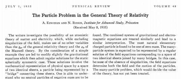 H περίληψη της δημοσίευσης των Einstein - Rosen  στο Physical Review