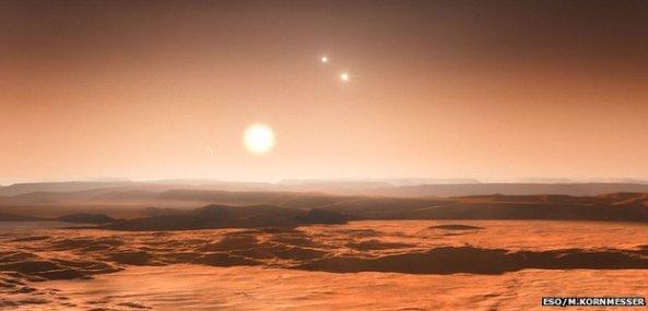 Πως φαίνεται ο ουρανός από την επιφάνεια του εξωπλανήτη Gliese 667Cd (καλλιτεχνική άποψη)
