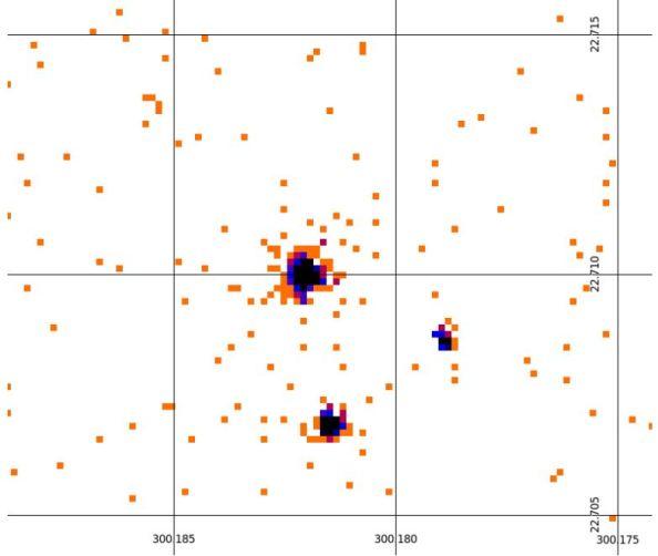 Εικόνα ακτίνων X του συστήματος ΗD 189733. Το άστρο  ΗD 189733(πάνω αριστερά), ο εξωπλανήτης HD 189733B (δεξιά) και ένα αντικείμενο στο υπόβαθορ (κάτω)