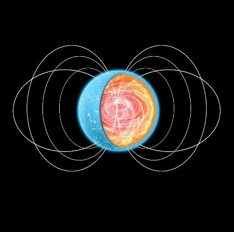 Καλλιταχνική απεικόνιση αστέρα νετρονίων. Το στρώμα των πυρηνικών ζυμαρικών βρίσκεται στον εσώτατο φλοιό, κοντά στον πυρήνα