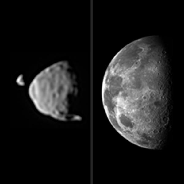 Σύγκριση των μεγεθών,  Φόβου, Δείμου όπως φαίνονται από την επιφάνεια του Άρη και του μεγέθους της Σελήνης όπως φαίνεται από τη Γη
