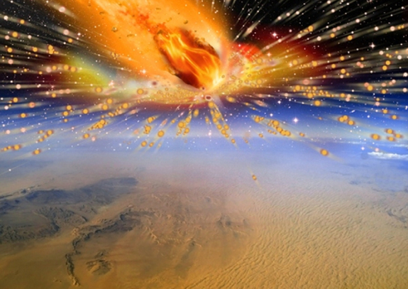 An artist's rendition of the comet exploding in Earth's atmosphere above Egypt 28 million years ago. Credit: Terry Bakker