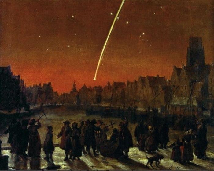 O μεγάλος κομήτης του 1680 πάνω από το Ρότερνταμ.  Ο ζωγραφικός πίνακας του Lieve Versheier απεικονίζει την μακριά ουρά του κομήτη, καθώς επίσης και ένας πλήθος κόσμου που παρακολουθεί τον κομήτη. Μερικοί από αυτούς χρησιμοποιούν ένα γωνιομετρικό αστρονομικό όργανο (πρόγονο του εξάντα)