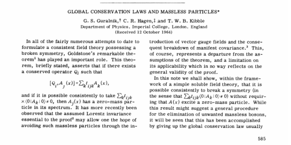 H δημοσίευση των G. S. Guralnik, fC. R. Hagen και B. Kibble