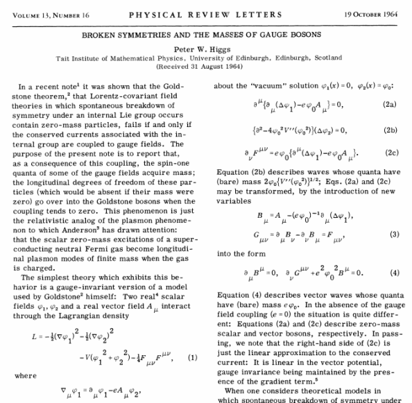H δημοσίευση του Peter Higgs στο PHYSICAL REVIEW LETTERS 19/10/1964