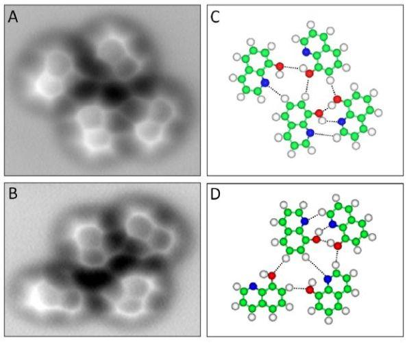 Αριστερά: Δεσμοί υδρογόνου ανάμεσα σε μόρια υδροξυκινολίνης. Δεξιά: οι διακεκομμένες γραμμές δηλώνουν τους δεσμούς υδρογόνου)