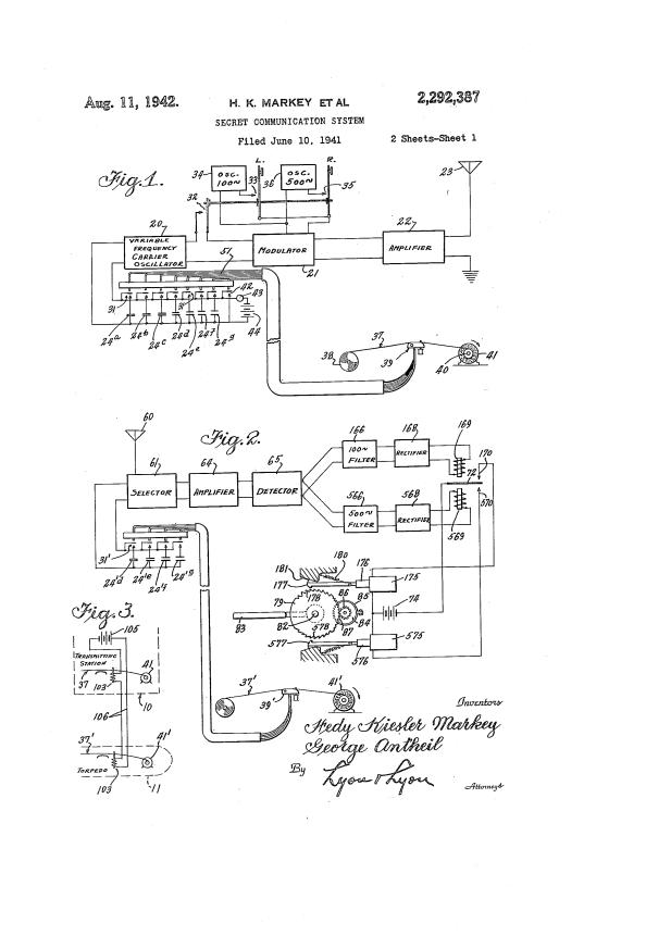 Secret communication system US 2292387 A http://www.google.com/patents/US2292387