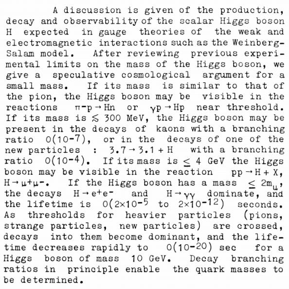 "H περίληψη της εργασίας των John Ellis, Mary K. Gaillard, και Δημήτρη Νανόπουλου, με τίτλο: ""A phenomenological profile of the Higgs boson"""