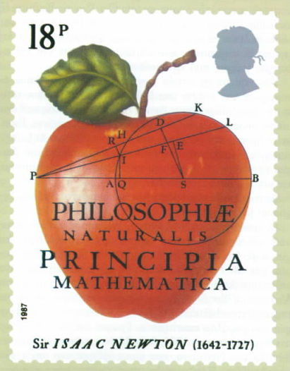 Βρετανικό γραμματόσημο του 1987, αναμνηστικό για τα τριακόσια χρόνια από την έκδοση των Principia του Νεύτωνα