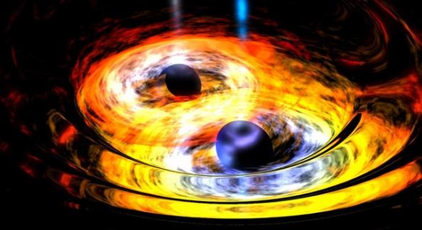 Καλλιτεχνική απεικόνιση της βαρυτικής αλληλεπίδρασης μεταξύ δυο μαύρων τρυπών