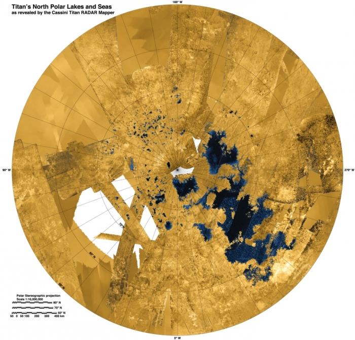 Απεικόνιση του βορείου τμήματος του Τιτάνα  από την αποστολή Cassini της NASA