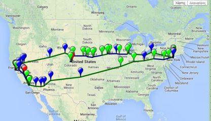 """Ένας διαδραστικός  χάρτης των διαδρομών στο """"on the road"""" του Jack Kerouac"""