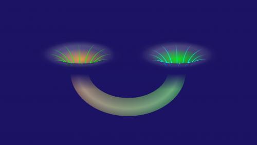 Μια σκουληκότρυπα  συνδέει δύο μαύρες τρύπες. (Credit: Alan Stonebraker / American Physical Society)