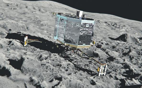 Αυτή τη μορφή έχει το εξερευνητικό όχημα Philae, που θα προσεδαφιστεί φέτος τον Νοέμβριο στην επιφάνεια του κομήτη Τσουριούμοφ - Γερασιμένκο. Το Philae, βάρους 100 κιλών, διαθέτει ειδικές άγκυρες, που θα το διατηρήσουν στην παγωμένη επιφάνεια του αστρικού σώματος, όπου θα πραγματοποιήσει δειγματοληψία του υπεδάφους. Η επιστημονική ομάδα της ευρωπαϊκής ESA ελπίζει ότι το διαστημόπλοιο «Ροζέτα» –που «αφυπνίσθηκε» χθες από την ηλεκτρονική νάρκη στην οποία βρίσκεται εδώ και δέκα χρόνια– και το εξερευνητικό Philae θα προσφέρουν απαντήσεις για την απαρχή του ηλιακού συστήματος και τις αστρονομικές συνθήκες της εποχής εκείνης, πριν από 4,6 δισεκατομμύρια χρόνια.