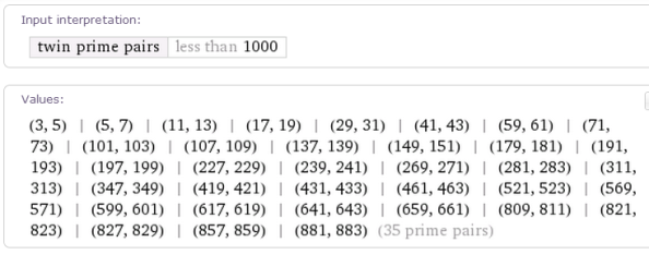 http://www.wolframalpha.com/input/?i=twin+primes+less+than+1000