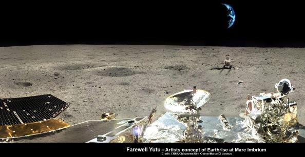 Αποχαιρετισμός στη Γη από τo Yutu (μια σύνθεση φωτογραφιών που λήφθηκαν  από την κινεζική αποστολή στη Σελήνη)