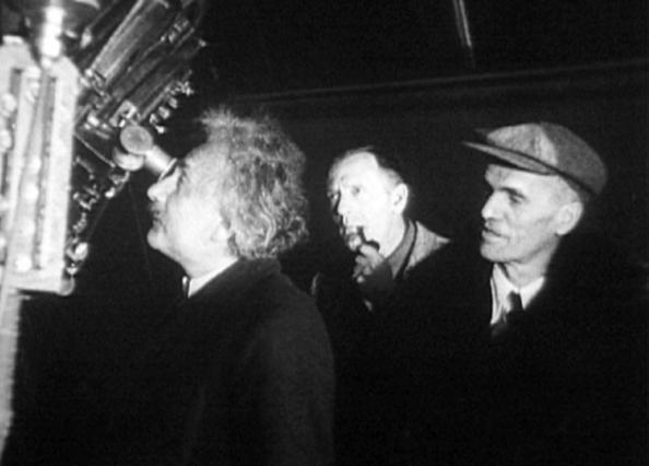 Albert Einstein at Mount Wilson Observatory in 1931, with Edwin Hubble (centre) and Walter Adams.