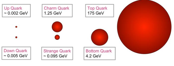 Το κορυφαίο (top) κουάρκ είναι το βαρύτερο από τα υπόλοιπα κουαρκ: πάνω (up), κάτω (down), παράδοξο (strange), γοητευτικό(charm) και πυθμένα (bottom).