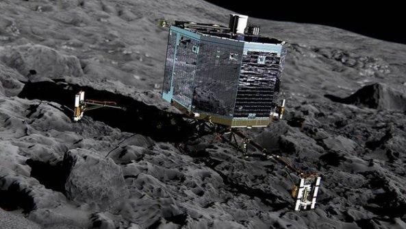 Καλλιτεχνική απεικόνιση της προσεδάφισης του διαστημικού οχήματος  Philae στην επιφάνεια του κομήτη 67P