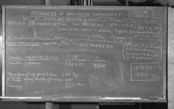 Η ανακοίνωση στον χώρο του εργαστηρίου κατά την διάρκεια της εξέλιξης του πειράματος ανίχνευσης των αντιπρωτονίων αναφέρει ότι ανιχνεύθηκαν  38 αρνητικά φορτισμένα σωματίδια με μάζα 1840 φορές τη μάζα του ηλεκτρονίου