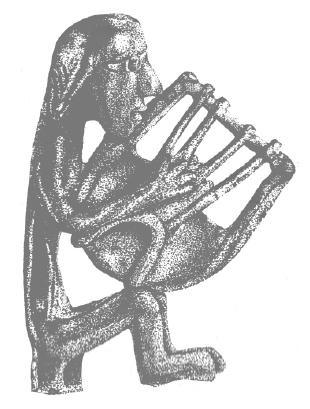 Ο «μουσικός άνθρωπος». Ένα κρίσιμο στάδιο στην ανέλιξη του ανθρώπου (που δεν θα είχε υπάρξει ποτέ χωρίς το «κλάμα του μωρού»: την αρχέγονη μουσική). Ορειχάλκινο αγαλματίδιο αρπιστή, 900-725 π.Χ. Αρχαιολογικό Μουσείο Ηρακλείου.