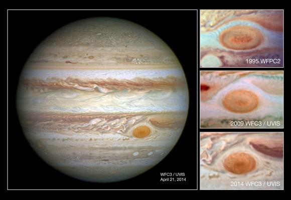 Η πάνω φωτογραφία λήφθηκε από το διαστημικό τηλεσκόπιο Hubble το 1995 όταν η κηλίδα είχε διάμετρο περίπου 21.000 χιλιόμετρα, η πιο ενδιάμεση φωτογραφία δείχνει την κηλίδα το 2009 όταν η διάμετρός της ήταν 18.000 χιλιόμετρα και η κάτω δείχνει φετινή εικόνα της (204) με διάμετρο μόλις 16.000 χιλιόμετρα