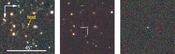 Εικόνες που δείχνουν την περιοχή του σουπερνόβα  DES13S2cmm πριν (αριστερά) και μετά (κέντρο)  την έκρηξη. Δεξιά είναι η αφαίρεση των δυο εικόνων που αναδιεκνύει το νέο αντικείμενο στο κέντρο --